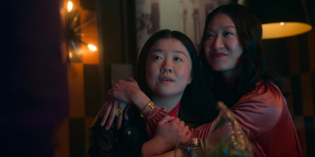 She's Back!: Alice and Sumi thwart the advances of two dudebros at the bar.
