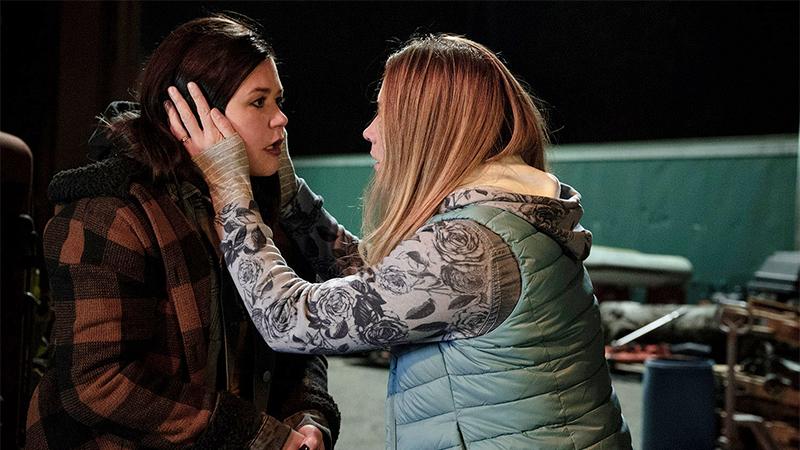 Allison clutches Patty's face