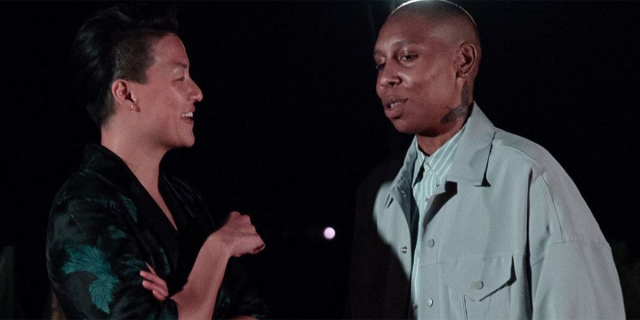 Melissa King and Lena Waithe chat at a dinner party in Malibu