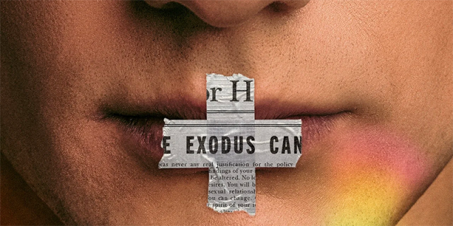 """A close-up of a face with a cross made of newspaper over the lips. The cross says """"exodus"""""""
