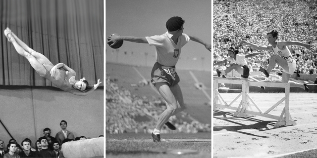 Three photo collage: Karin Büttner-Janz, Stella Walsh, and Babe Didrickson compete in the balance beam, disc throw, and hurdles, respectively