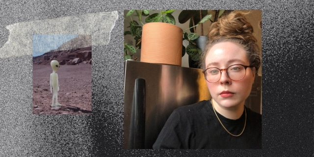 Feature image of Rachel next to a houseplant, with a shot of an alien taped next to her