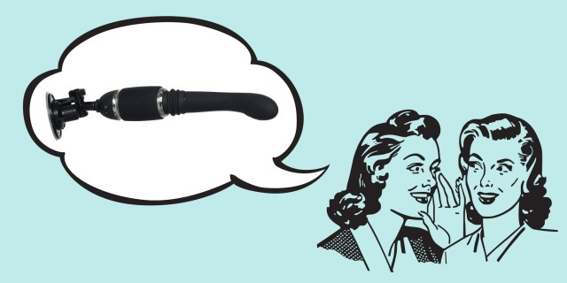 A drawn image of two women in 1950's hairstyles whisper to each other against a blue background. In a thought bubble, there is an image of a black dildo attached to a suction cup base.