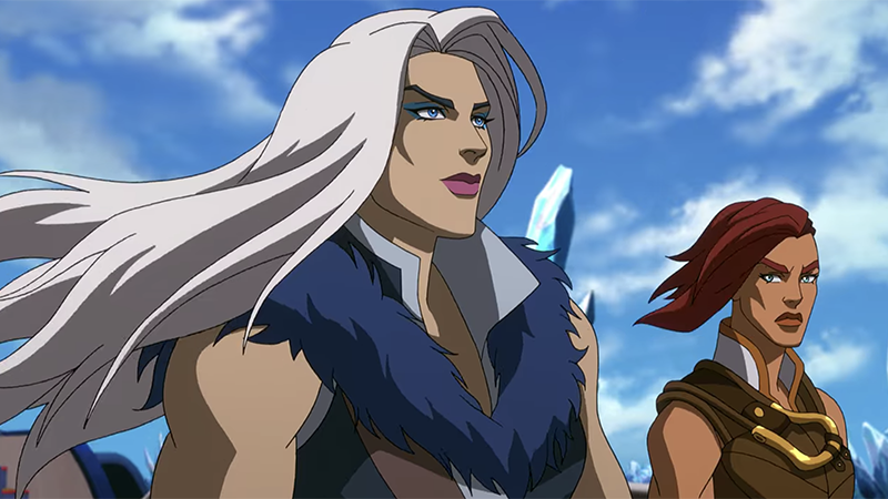 Evil-Lyn and Teela look out at the icy sea