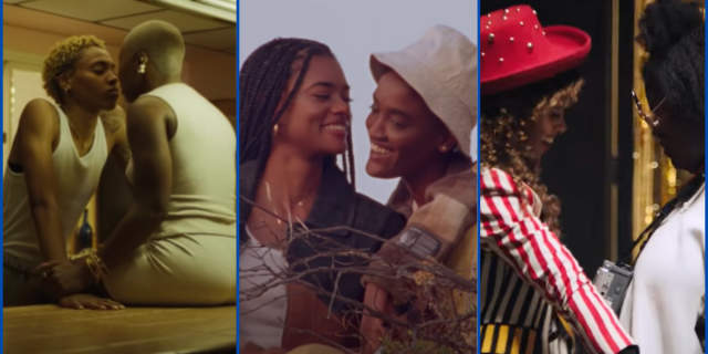 image shows three screenshots from three differernt music videos where each lead singer is posing with a thin romantic love interest.
