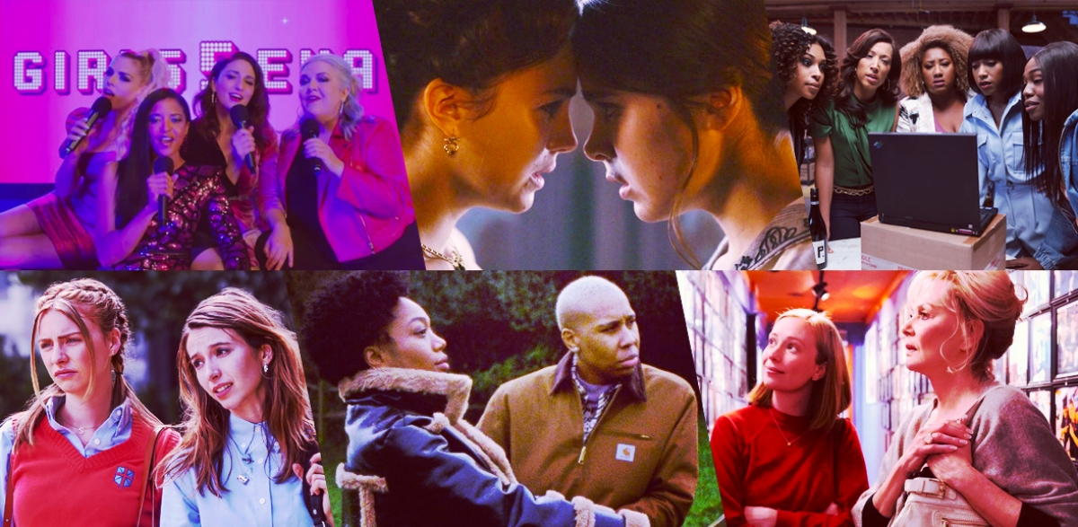 Stills from nominees for Outstanding Comedy Series, left to right: Girls 5Eva, Dickinson, A Black Lady Sketch Show, Teenage Bounty Hunters, Master of None Presents: Moments in Love, Hacks