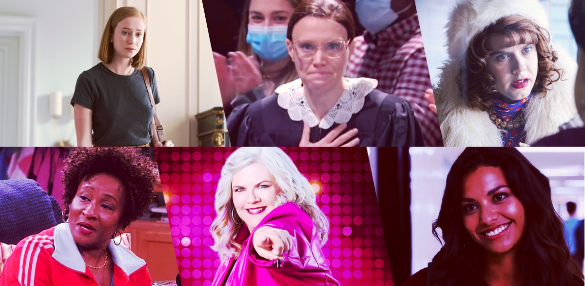 Stills of nominees for Outstanding Performance by an Out LGBTQ+ Actor in a Comedy: Hannah Einbinder as Ava Daniels, Hacks; Kate McKinnon, Saturday Night Live; Cole Escola as Chip Wreck, Search Party; Wanda Sykes as Lucretia Turner, The Upshaws; Paula Pell as Gloria, Girls 5Eva; Humberly González as Sophie Sanchez, Ginny & Georgia