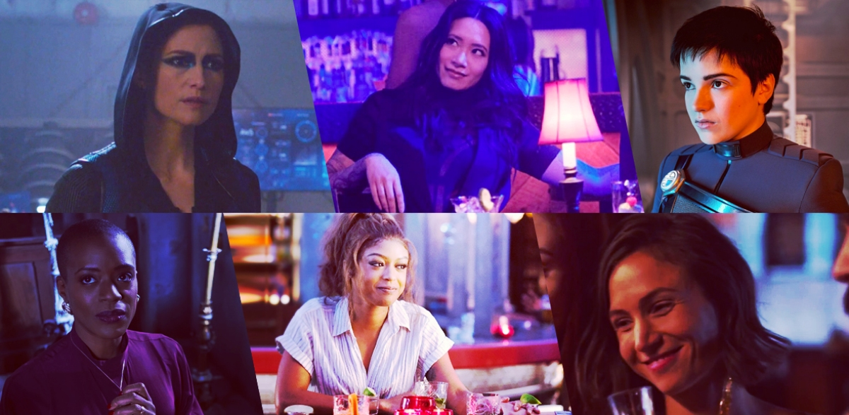 Stills of nominees for Outstanding LGBTQ+ Actor in a Sci-Fi/Fantasy Show: Chyler Leigh as Alex Danvers, Supergirl; Chantal Thuy as Grace Choi, Black Lightning; Blu del Barrio as Adira Tal, Star Trek: Discovery; T'Nia Miller as Hannah Grose, The Haunting of Bly Manor; Javicia Leslie as Ryan Wilder, Batwoman; Dominique Provost-Chalkley in Wynonna Earp