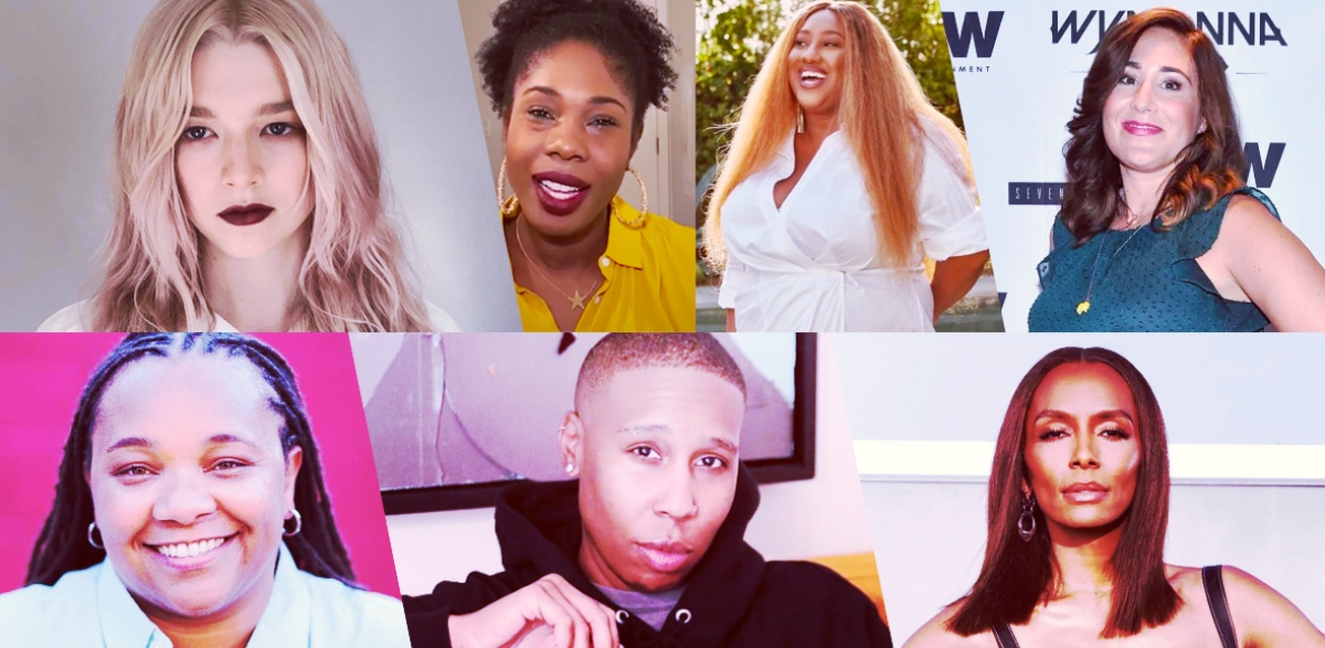 """Stills of nominees for Outstanding LGBTQ+ Director / Writer / Showrunner: Hunter Schafer, writer, Euphoria (""""Fuck Anyone Who's Not a Sea Blob""""); Ashley Nicole Black and Lauren Ashley Smith, writers, A Black Lady Sketch Show; Emily Andras, showrunner, Wynonna Earp; Janet Mock, director, Pose (""""Take Me to Church""""); Lena Waithe, writer, Master of None Presents: Moments in Love; Tina Mabry, director, Pose (""""The Trunk"""")"""