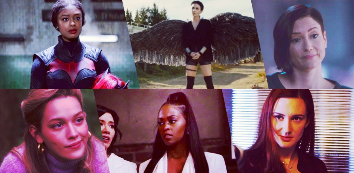 Stills of nominees for Outstanding Lead Actor Playing an LGBTQ+ Character in a Sci-Fi Series: Javicia Leslie as Ryan Wilder, Batwoman; Dominique Provost-Chalkley as Waverly Earp, Wynonna Earp; Chyler Leigh as Alex Danvers, Supergirl; Victoria Pedretti as Dani Clayton, The Haunting of Bly Manor; Nafessa Williams as Anissa Pierce, Black Lightning; Kat Barrell as Nicole Haught, Wynonna Earp