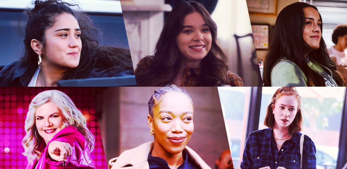 Stills of nominees for Outstanding Lead Actor Playing an LGBTQ+ Character in a Comedy Series: Haley Sanchez as Greta Moreno, Genera+ion; Hailee Steinfeld as Emily Dickinson, Dickinson; Chase Sui Wonders as Riley Luo, Genera+ion; Paula Pell as Gloria, Girls 5Eva; Naomi Ackie as Alicia, Master of None Presents: Moments in Love; Hannah Einbinder as Ava Daniels, Hacks