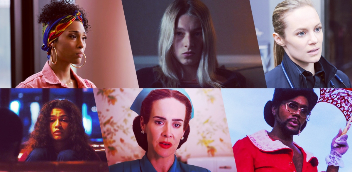 Stills of nominees for Outstanding Lead Actor Playing an LGBTQ+ Character in a Drama Series: Mj Rodriguez as Blanca Evangelista, Pose; Hunter Schafer as Jules Vaughn, Euphoria; Danielle Savre as Maya Bishop, Station 19; Zendaya as Rue Bennett, Euphoria; Sarah Paulson as Nurse Ratched, Ratched; Nicco Annan as Uncle Clifford, P-Valley