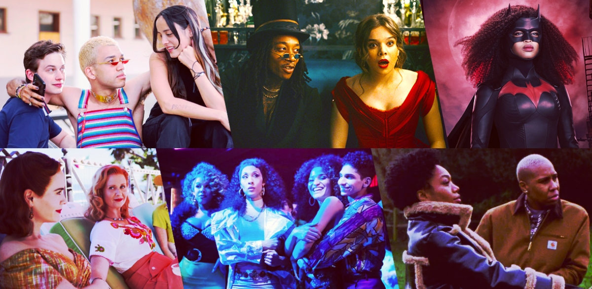 Stills of nominees for Outstanding Costume Design for a Show With LGBTQ+ Characters: Genera+ion; Dickinson; Batwoman; Ratched; Pose; Master of None Presents: Moments in Love
