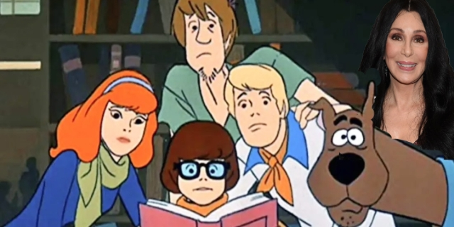 A cut out of Cher overlaid over the cast of Scooby Doo