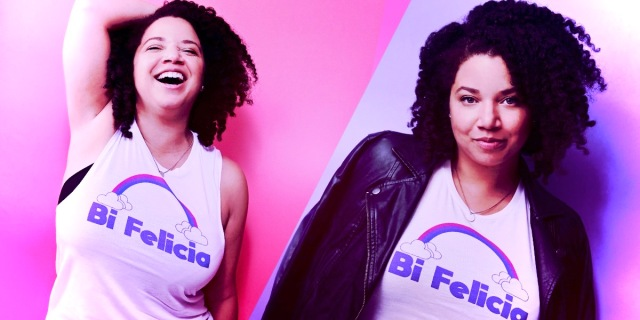 """The author Felicia Filpatrick wears a shirt that says """"Bi Felicia"""" (a play on the meme/saying, """"Bye Felicia!""""). She is overlaid in the colors of the pink, blue, and purple colors of the bi pride flag."""