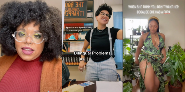 """Image shows 3 images together. The first is a Black woman with beautiful big tightly coiled hair wearing glasses, beautiful eye makeup looking into the camera. The second is of a Latinx person wearing a black shirt, trousers and suspenders seemingly talking to someone with the words """"bilingual problems"""" across the screen. The third is of a Black person wearing a long gown with a plant print exposing her thigh, surrounded by plants and the words """"When she think you don't want her because she has a FUPA"""" across the screen."""