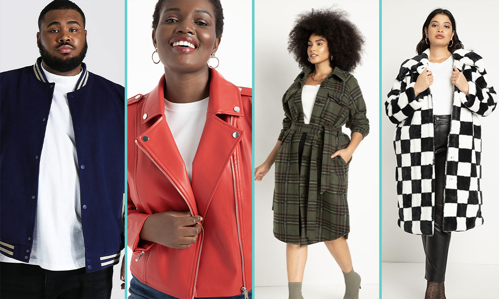 A masc person in a blue bomber jacket, a femme in a red leather jacket, a femme in a long trench coat in a flannel pattern, a femme in a black-and-white checkerboard coat