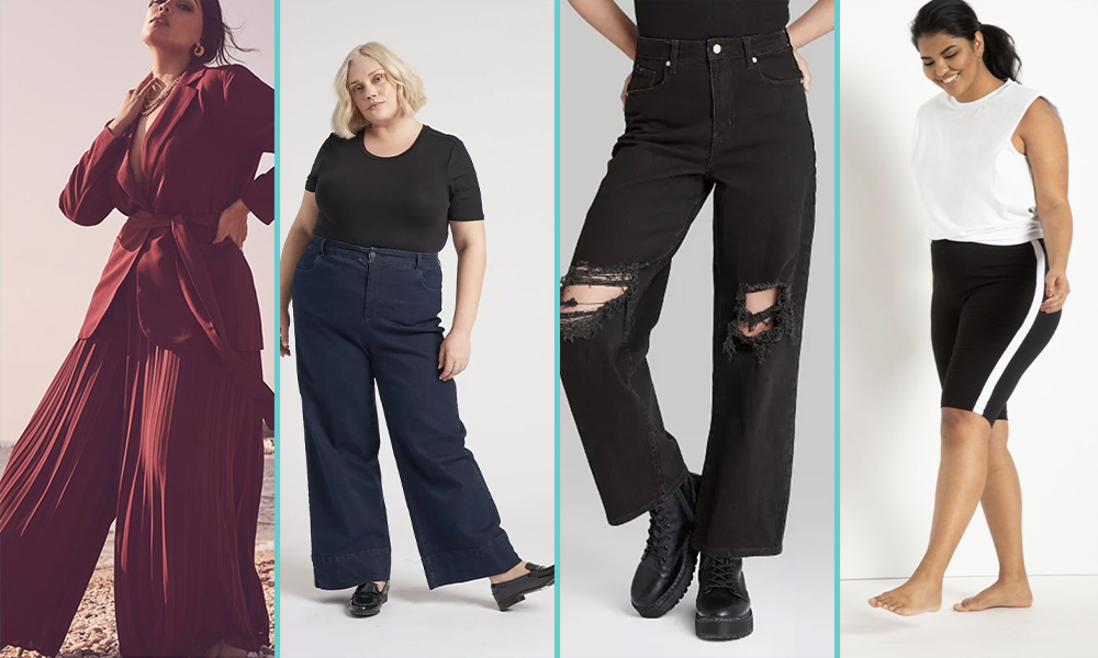 A femme in purple pleated wide leg pants, a femme in high waited baggy jeans in a dark wash, a pair of high rise jeans with holes at the knees, a femme in biker shorts with a white stripe down the sides