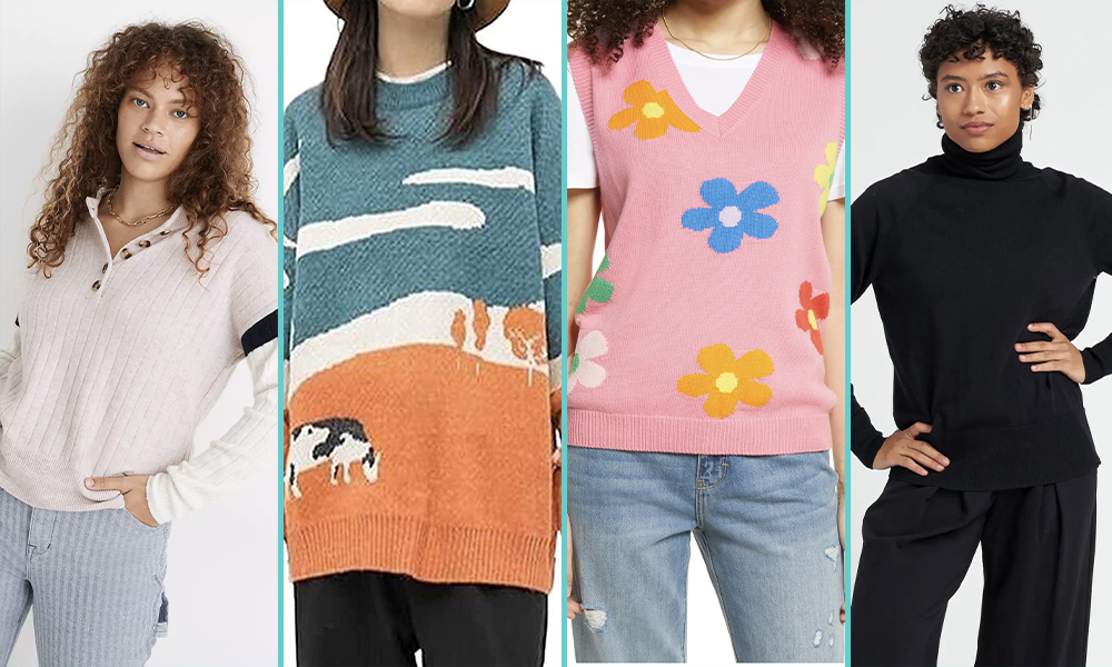 A femme in a cream Henley shirt-style sweater, a close up of a sweater with a pattern of a cow on a farm at sunset, a close up of a sweater vest that is pink with multi-colored daisies, a femme in a black turtleneck.