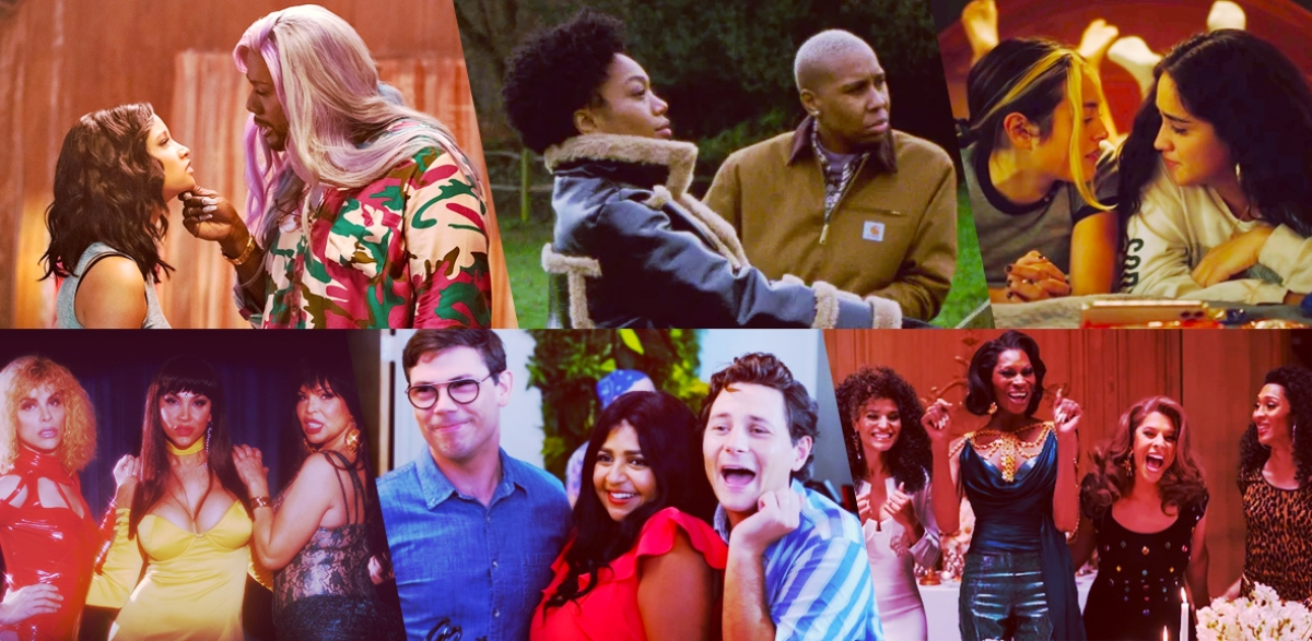 Stills of nominees for Most Groundbreaking Representation (Show): P-Valley; Master of None Presents: Moments in Love; Genera+ion; Veneno; Special; Pose
