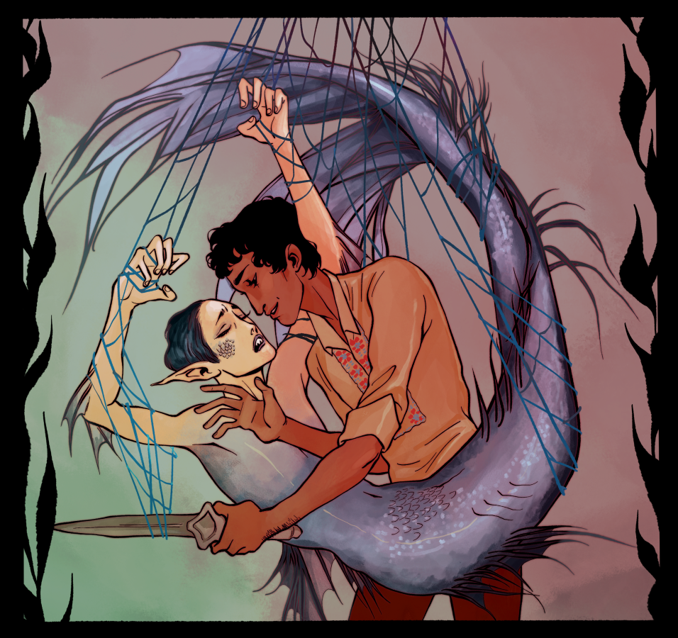 A brown-skinned masculine person cutting a femme mermaid out of a net.