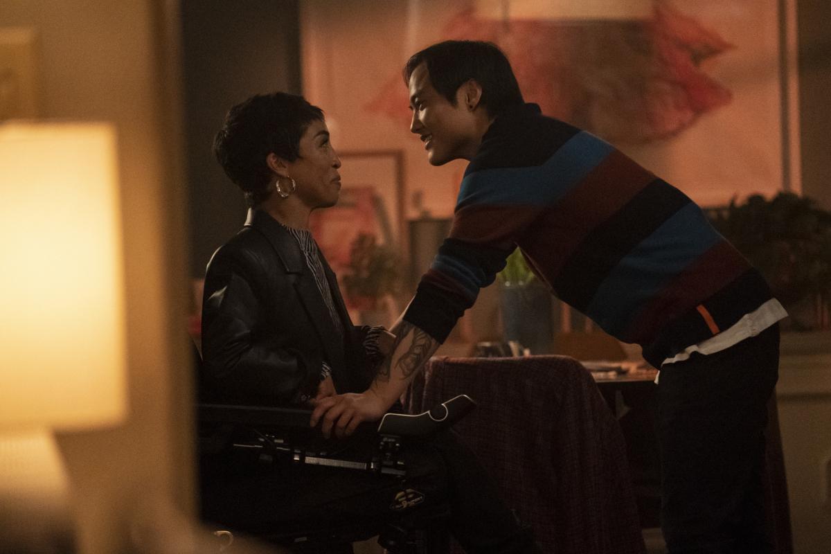 "(L-R): Jillian Mercado as Maribel and Leo Sheng as Micah in THE L WORD: GENERATION Q ""Launch Party"". Photo Credit: Liz Morris/SHOWTIME."