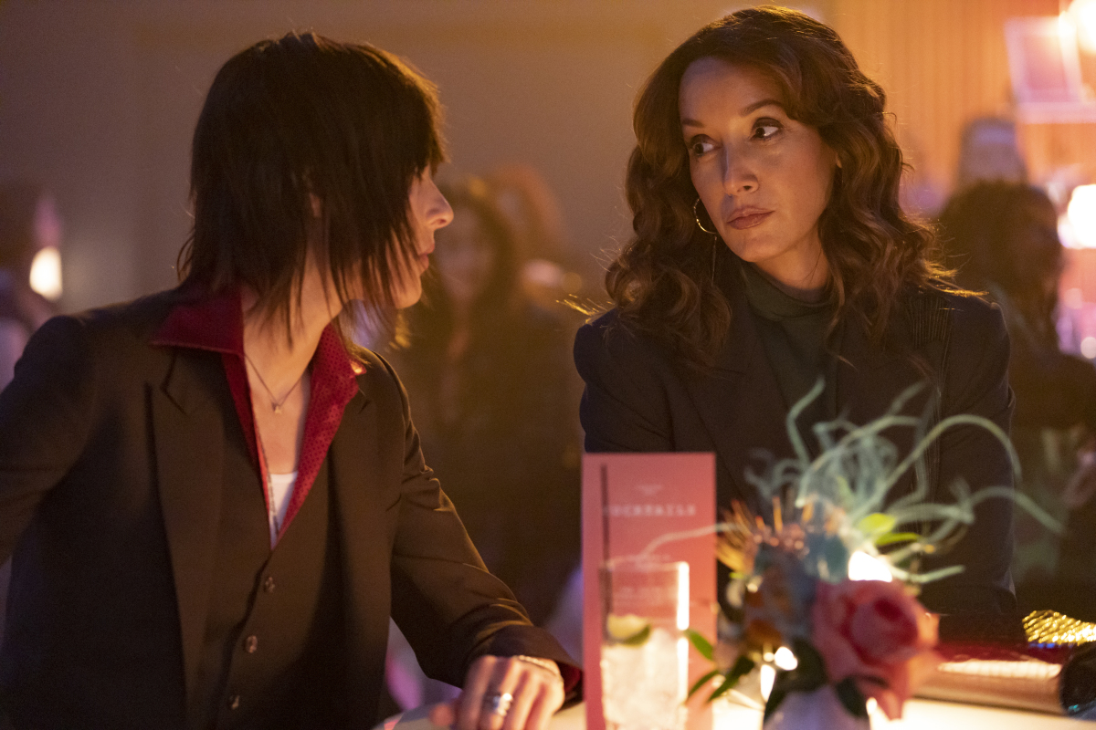 """(L-R): Katherine Moennig as Shane and Jennifer Beals as Bette in THE L WORD: GENERATION Q """"Launch Party"""". Photo Credit: Paul Sarkis/SHOWTIME."""