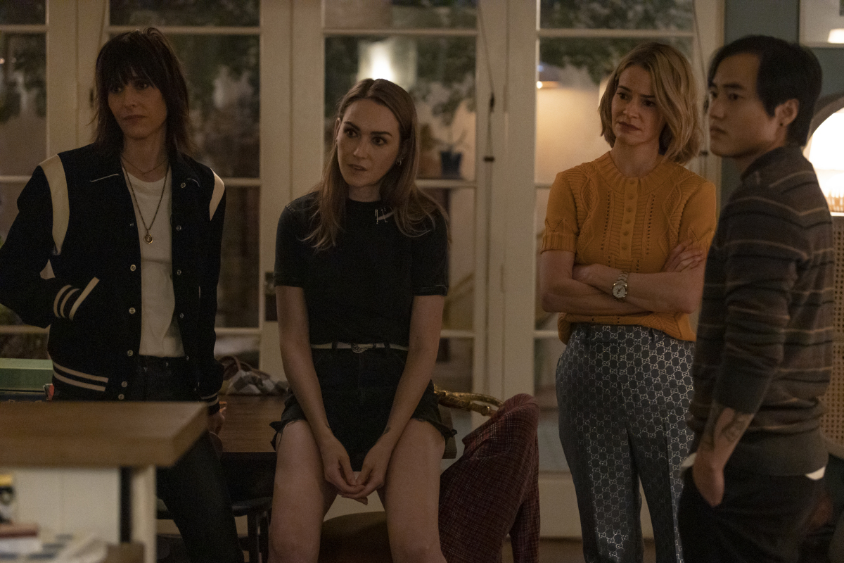 """(L-R): Katherine Moennig as Shane, Jamie Clayton as Tess, Leisha Hailey as Alice and Leo Sheng as Micah in THE L WORD: GENERATION Q """"Last Call"""". Photo Credit: Paul Sarkis/SHOWTIME."""