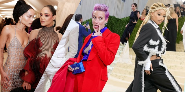 A three-fold collage of Zoe Kravitz and Tessa Thompson at 2021's Met Gala, followed by Megan Rapinoe making a silly face in a blue and red suit, and finally Amandla Stenberg in a three piece suit with white trim and blond locks pulled to the side.