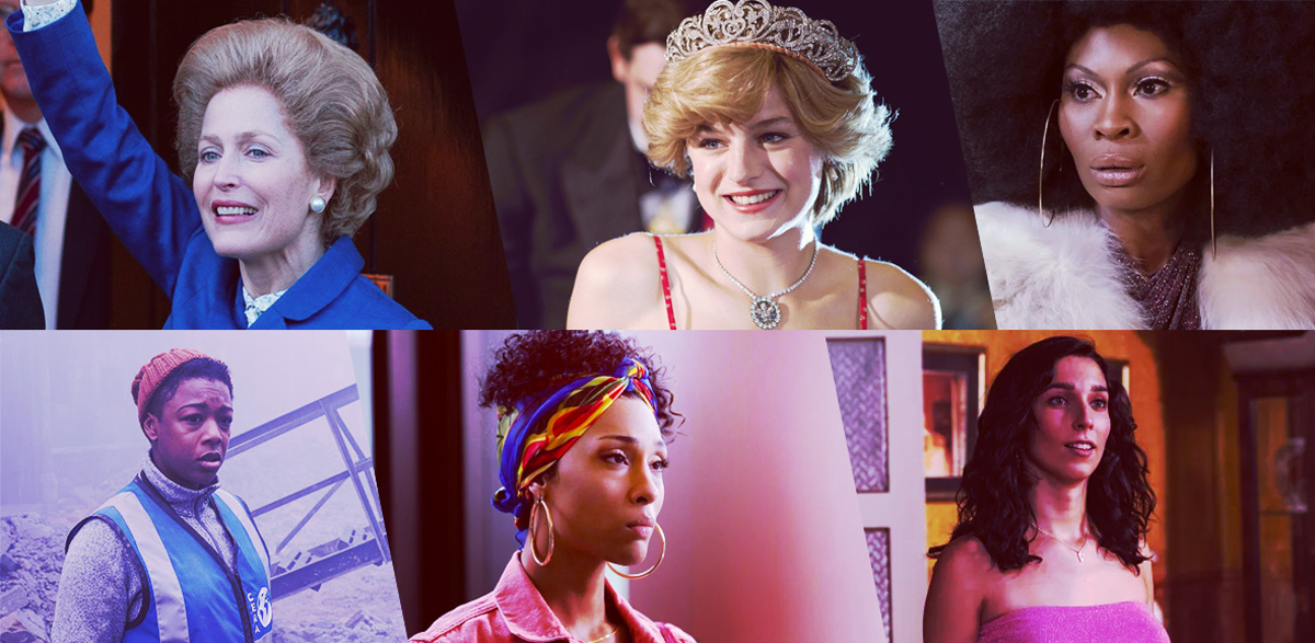 Stills of nominees for Outstanding Performance by an LGBTQ+ Actor in a Drama: Gillian Anderson as Margaret Thatcher, The Crown; Emma Corrin as Princess Diana, The Crown; Dominique Jackson as Elektra Abundance Evangelista Wintour, Pose; Samira Wiley as Moira Strand, The Handmaid's Tale; Mj Rodriguez as Blanca Evangelista, Pose; Lola Rodriguez as Valeria Vegas, Veneno
