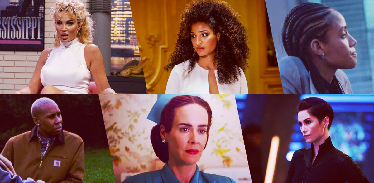 Stills of nominees for Outstanding Hairstyling for an LGBTQ+ Character: Veneno, Veneno; Angel Evangelista, Pose; Sophie Moore, Batwoman; Denise, Master of None Presents: Moments in Love; Sarah Paulson as Nurse Ratched, Ratched; Alex Danvers, Supergirl