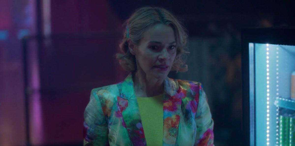 Alice in a flower blazer backstage