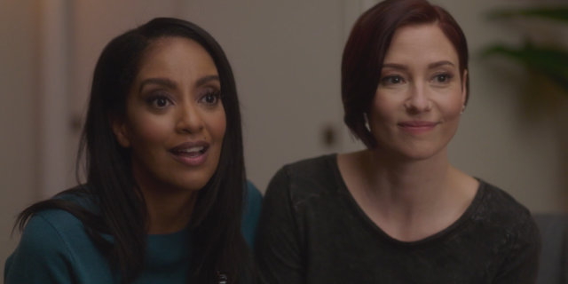 Screenshot from Supergirl 609: Dansen, Alex and Kelly smile at their friends