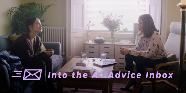 a therapy session from the show pure. text reads: Into the A+ Advice Box