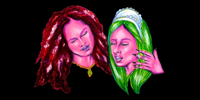 The countess, a woman with pink skin and red hair, wraps her arm around the maid, a woman with pink skin, green hair and a maid's hat, against a black background.