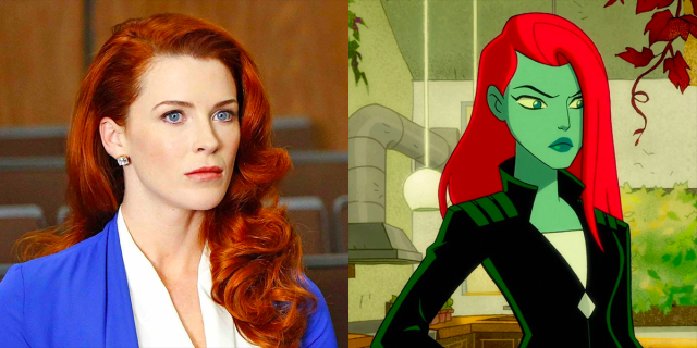 Bridget Regan with bright red hair on the left, Poison Ivy from the animated series Harley Quinn on the right