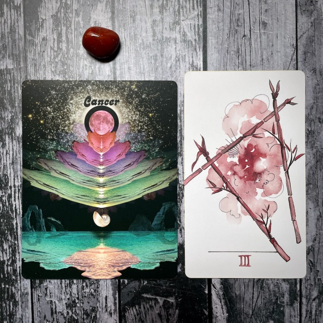 cancer, three of wands