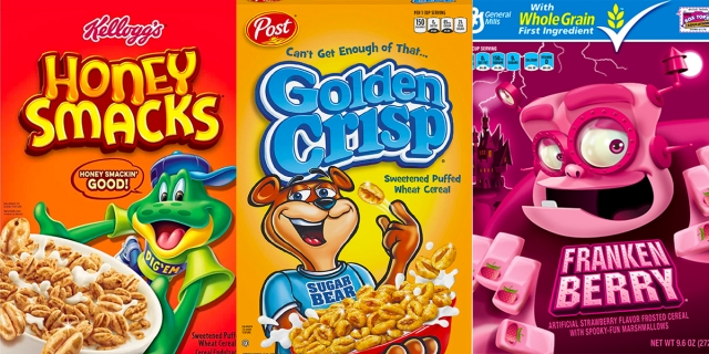 A collage of three cereals from this list: Honey Smacks frog, Golden Crisp bear, Frankenberry berry monster