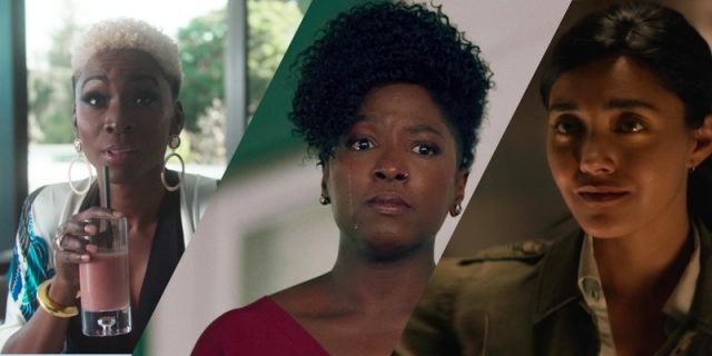A three photo collage: Angelica Ross on American Horror Story, Rutina Wesley on Queen Sugar, and Yasmine Al-Bustami on NCIS: Hawaii
