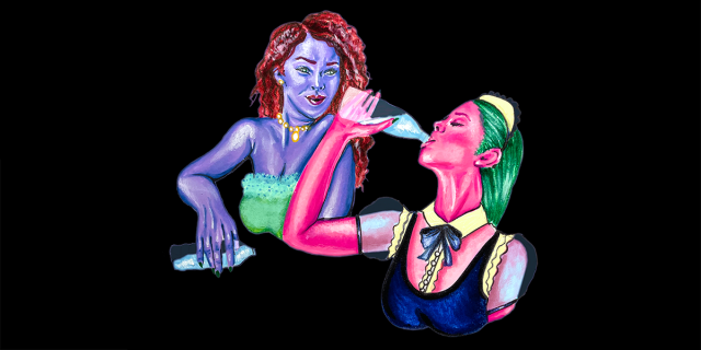 The Countess, who has a purple skin and curly red hair, watches Myra, who has pink skin and green hair and wears a maid uniform, chug from a bottle of water.
