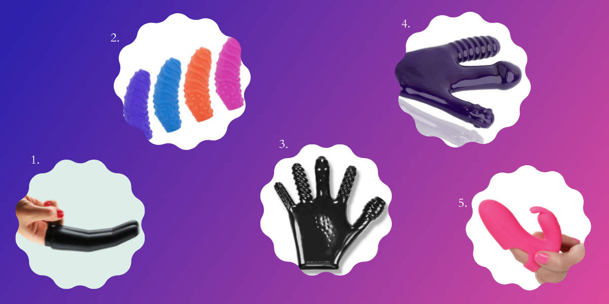 Sex toys that will help humans with long nails have lesbian sex: Images of sex toys are in bubbles on a dark purple and pink background. The toys include a black silicone finger extender, small silicone textures finger slip colors in various colors, a full glove with a different texture on each finger, another glove with just 3 fingers with different textures on the fingertips, and a small fingerslip vibrator that comes in pink.