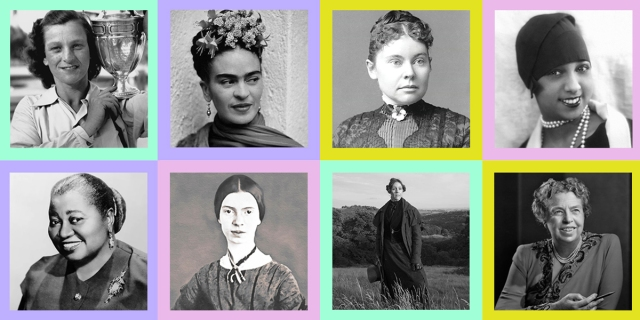 Eight of the selections from this quiz: Frida Kahlo, Babe Didrikson, Anne Lister, Lizzie Borden, Josephine Baker, Hattie McDaniel, Emily Dickinson, and Eleanor Roosevelt