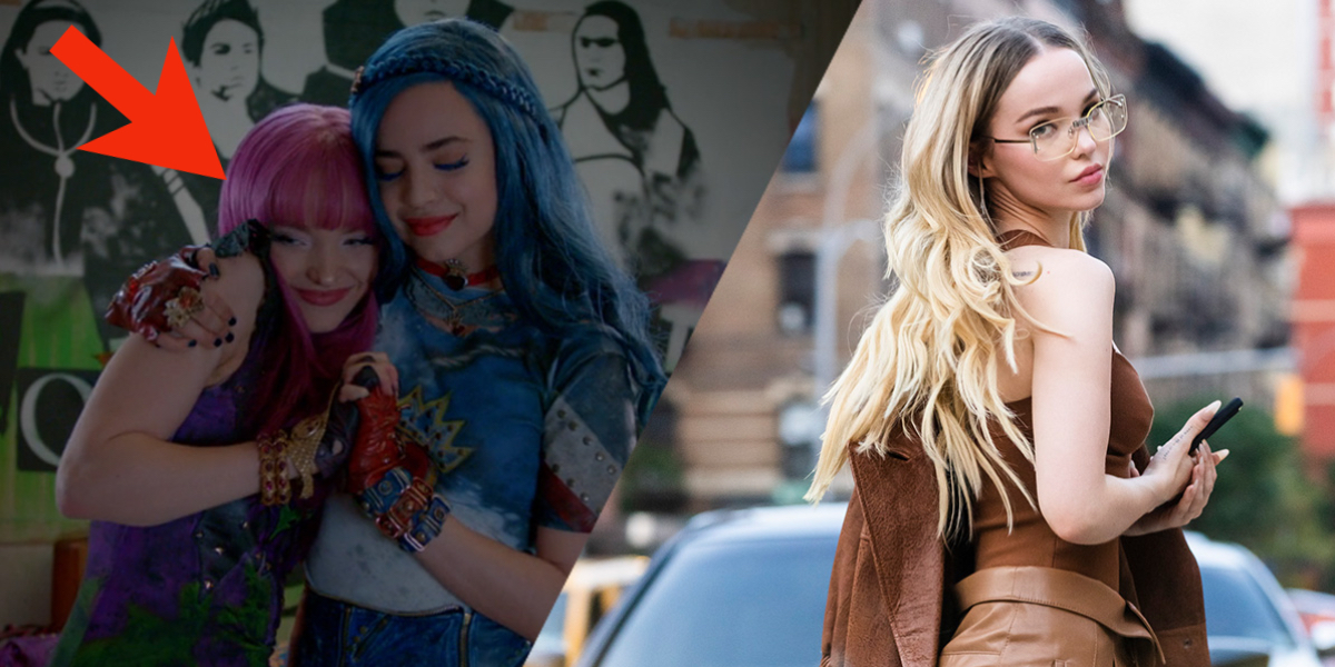 Dove Cameron in The Descendants next to an adult Dove Cameron walking around NYC
