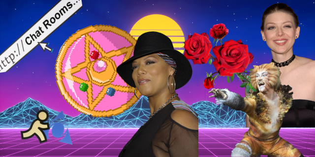 A collage against a vaporwave early internet background. Collage features the AOL logo, a chatroom link, the moon compact from Sailor Moon, roses, a character from the musical, Cats, Amber Benson, and in the center, Queen Latifah