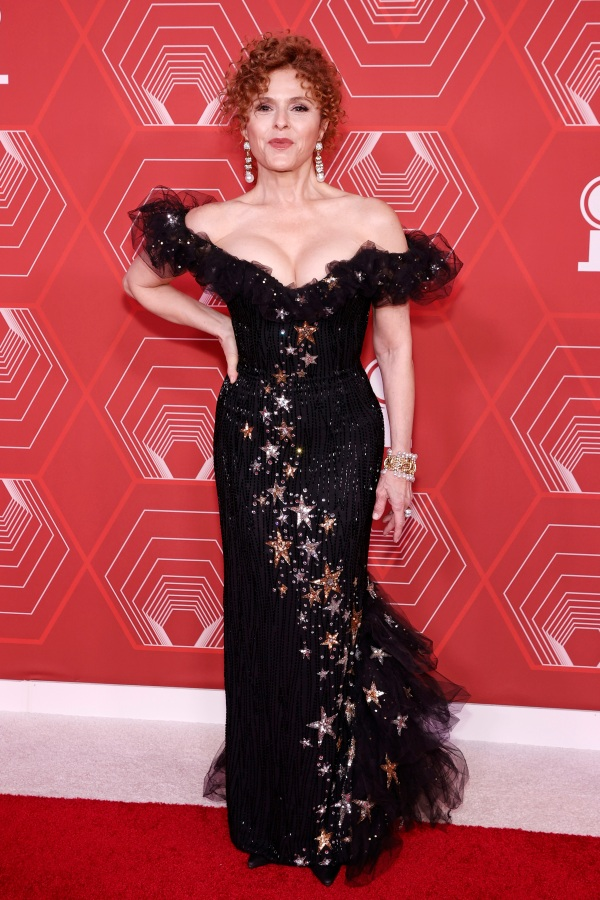 Bernadette Peters at the 2021 Tonys in a black Bob Mackie dress that's off the shoulder and covered in stars.