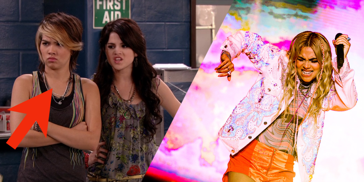 Hayley Kiyoko, a Disney Channel Star who came out as gay, guest stars on Wizards of Waverly Place, placed next to the photo an adult Kiyoko performs on a stage with rainbow smoke around her.