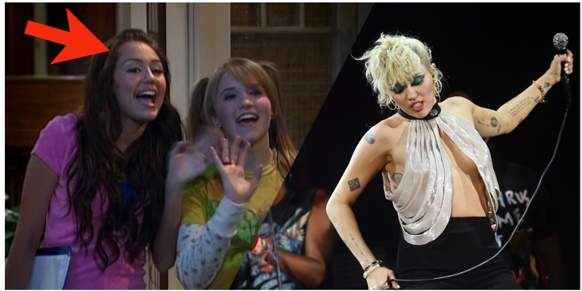 Miley Cyrus, a Disney Channel star who came out as gay, stars in Hannah Montana, she's next to an adult Miley performing on stage