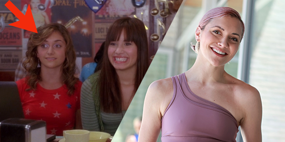 Alyson Stoner, a Disney Channel star who came out as gay, stars in Camp Rock with Demi Lovato, next to an adult Alyson Stoner with Purple Hair
