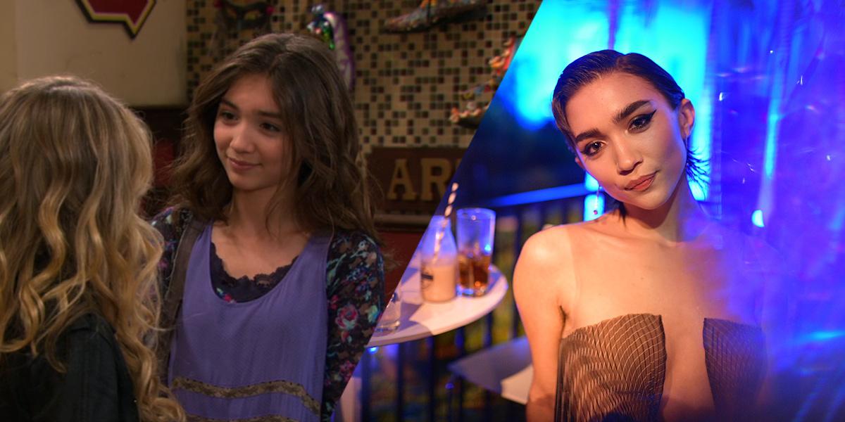 Rowan Blanchard on Girl Meets World next to Rowan as an adult