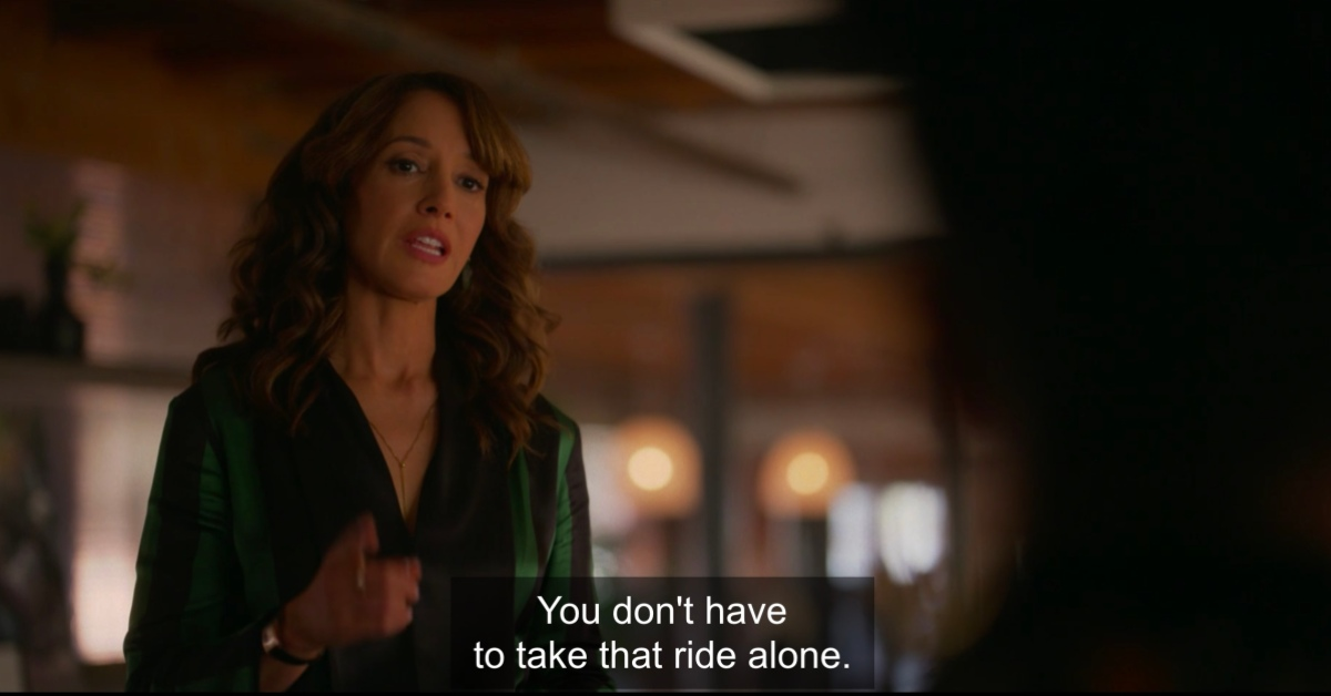 """bette saying """"you don't have to take that ride alone"""""""